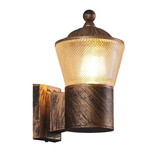 KAYIMAN Lampada da parete rustica Applique da parete rustiche esterno per interni Lampada da parete in ottone antico Pannelli trasparenti per PC Alluminio IP54 Luce impermeabile (con lampadina 8W)
