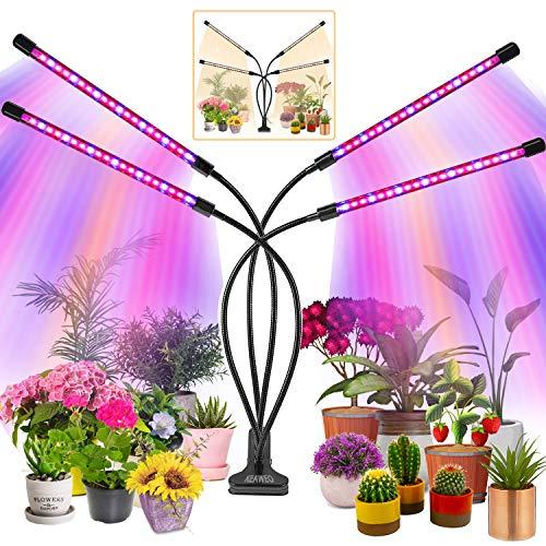 KEAWEO Lampada per Piante, LED Lampada Piante Indoor Lampada Piante Coltivazione 80 LEDs Timer Automatico10 Luminosità per Semina, Crescita Fioritura e Fruttificazione Spettro Completo