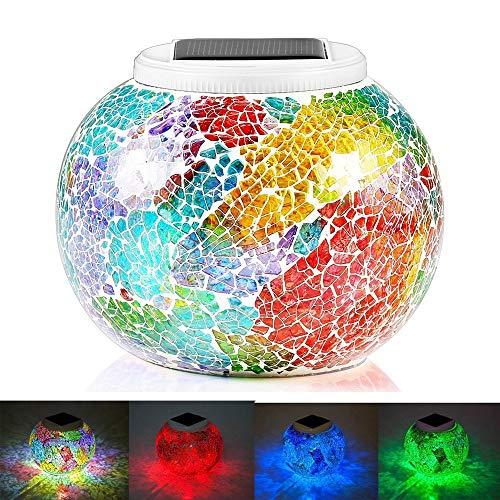 KEEDA Lanterne Solari Mosaico Effetto, Cambiare Colore Luce di Notte, Mood Lights Impermeabile Solare Lampada da Tavolo per Esterno Giardino, Partito(Placcatura Tricolore)