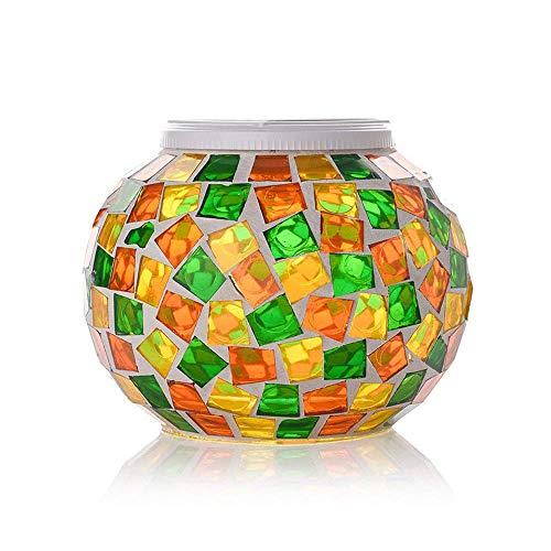 KEEDA Lanterne Solari Mosaico Effetto, RGB Luce di Notte,Solare Lampada da Tavolo per Esterno Giardino, Partito(Arancione e Giallo e Verde)