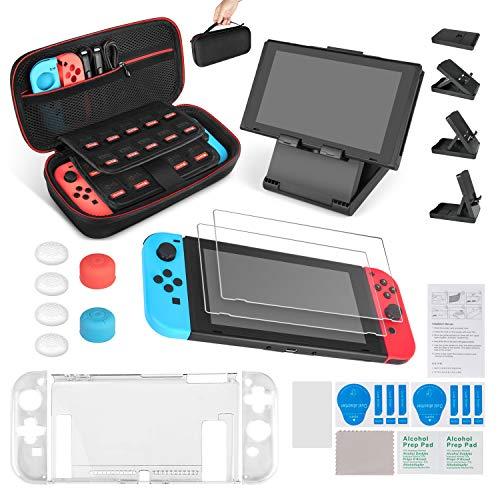 Keten Kit Accessori 13 in 1 per Nintendo Switch, Include Custodia da Trasporto per Nintendo Switch / Cover Protettiva Trasparente / Supporto regolabile / Pellicola Protettiva HD(confezione 2)