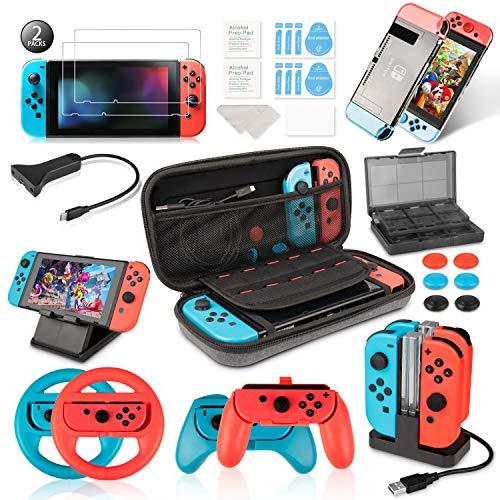Keten Kit Accessori per Nintendo Switch - Custodia per Il Trasporto/Dock di Ricarica/Supporto/Cavo Prolunga/Custodia per Schede/Protezione Schermo/Grip Joy-con/Custodie/Coperchi (19 in 1)