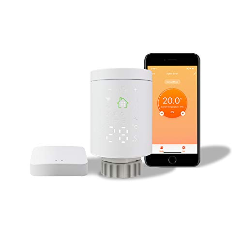 KETOTEK Intelligente Valvola Termostatica per Termosifoni WiFi Kit de Base (mit Zigbee Gateway), Valvola Termostatiche Termosifone Acqua Calda Termostato Compatibile Alexa Echo/Google Home/Tuya/IFTTT
