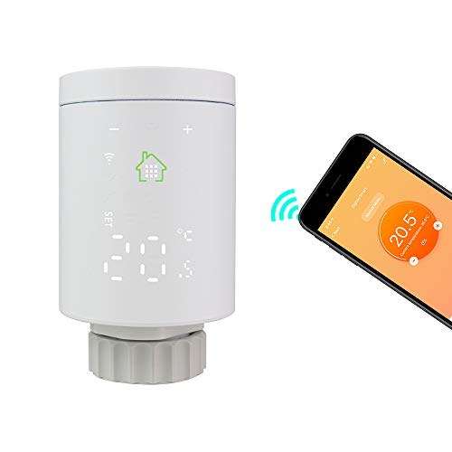KETOTEK Intelligente Zigbee Valvola Termostatica per Termosifoni WiFi, Valvola Termosifone Termostato Compatibile Alexa Echo/Google Home/Tuya/IFTTT (Non Include Gateway)