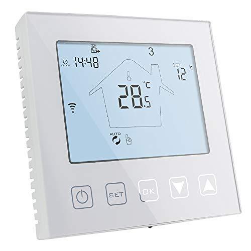 KETOTEK WiFi Termostato Caldaia a Gas/Acqua 3A Alexa Echo/Google Home/IFTTT/Tuya Compatibile, Intelligente Termostato Ambiente da Parete Programmabile