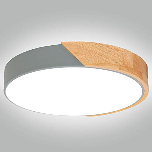Kimjo Plafoniera LED Soffitto 24W Bianco Freddo, LED Plafoniera 6000K 2400LM Φ30 cm, Lampada da Soffitto Moderna Rotonda per Soggiorno Corridoio Camera da letto Cucina
