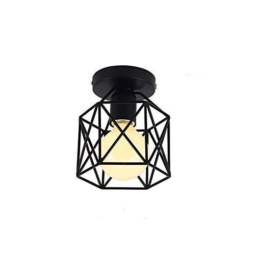 Kinberry - Plafoniera industriale Kinberry, lampada da soffitto, stile industriale, stile retrò, rustico, semi-incassato, per interni ed esterni, con filo metallico