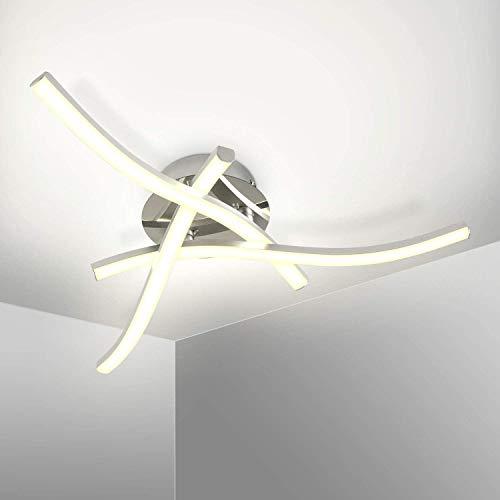 Kingwei Plafoniera LED 18W, Lampadario Luce Bianca Naturale 4000K, Lampadari Moderni Design Curvo con 3 Bracci, IP21, Lampada Plafoniera da Soffitto per Soggiorno Camera da letto Sala da Pranzo