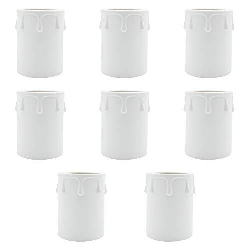 KingYH 9 Pezzi Manica Candela 60mm Diametro 43mm Plastica Candela a Goccia Manica per Lampadari Candela Lamp Covers-Bianco