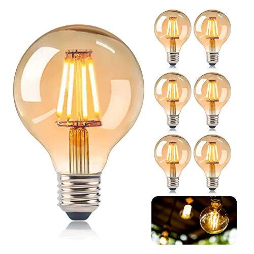 KIPIDA E27 LED Vintage Lampadina, Lampadina retrò 4W Illuminazione Vintage G80 Ideale per Illuminazione retrò in Casa Bar Caffetteria Sala Musica Ristorante Decorazioni di Nozze, Ambra Calda-6 Pezzi