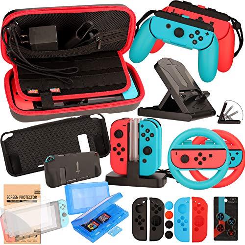 Kit Accessori per Nintendo Switch - Custodia Pellicola Protettive per Nintendo Switch Console - Custodie per Giochi Cartucce - Volante Cappucci Cover per Joy-Con Controller (23 in 1)