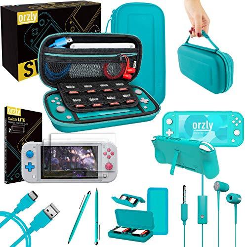 Kit Accessori per Nintendo Switch Lite - Include: Custodia e Pellicola Protettiva Switch Lite, Grip Case Cover, Cavo USB, Cuffie, e altri accessori Switch Lite (Blu)
