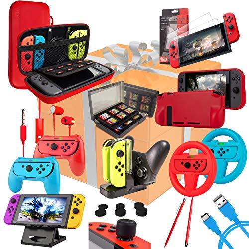 Kit Accessori per Nintendo Switch - Orzly Geek Pack con: Switch Custodia e Pellicola Protettiva, Joy-con impugnature & Volanti, Supporto Ricarica di controller, Comfort Grip Case più altro. [Colore]