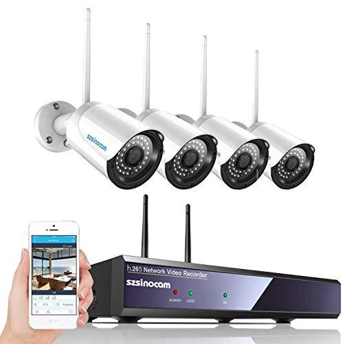 Kit Telecamere Videosorveglianza WiFi NVR,SZSINOCAM Telecamera Sorveglianza 4CH 1080P con Visione Notturna,Motion Detection,Allarme E-mail,IP66 Impermeabile,plug & play