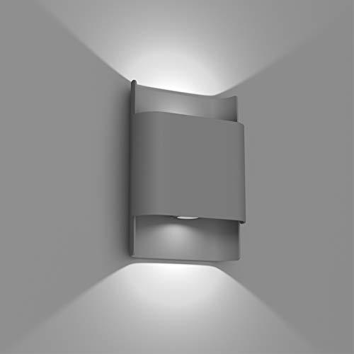 Klighten 12W Lampade a Parete LED Esterno Interno IP65 Su e Giù Applique da Parete Moderne in Alluminio Applique Parete per Soggiorno Corridoio Giardini, 3700-4000K Bianco Naturale, Grigio Scuro