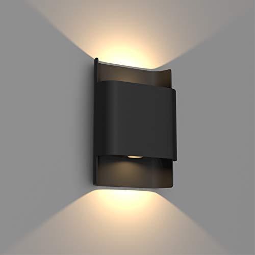 Klighten 12W LED Applique da Parete Esterno Interno impermeabile IP65 Su e Giù Lampade da Parete Moderne in Alluminio Lampada Muro per Soggiorno Ingresso Giardini, 2700-3000K Bianco Caldo, Nero