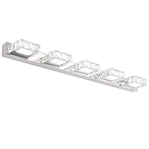 Klighten Lampada per Specchio LED Bagno IP44, Cristallo Lampada per Armadio Specchio Applique da Interno Bagno Moderno Apparecchio Bianco freddo 5500K, 80CM