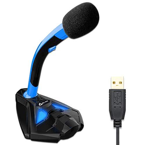KLIM™ Voice Microfono Desktop USB con Stand per Computer Laptop PC – Microfono Gaming Videogiochi PS4 - Blu [ Nouva Versione 2020 ]