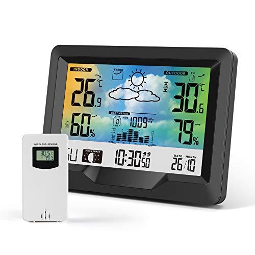 KNMY Stazione Meteo con Sensore Esterno Wireless, Stazione Meteorologica Digitale Display Colori, Temperatura/umidità/Previsioni Meteo/Fasi Lunari/Sveglia, Stazioni Meteo Multifunzione Domestiche