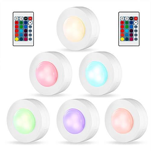 Kohree 6 x Luci Armadio LED RGB Lampada Notturna Senza Fili con Telecomando e Sensore di Touch a Batteria Dimmerabile Adesiva Multicolore per Vetrine, Scale, Armadio, Cucina
