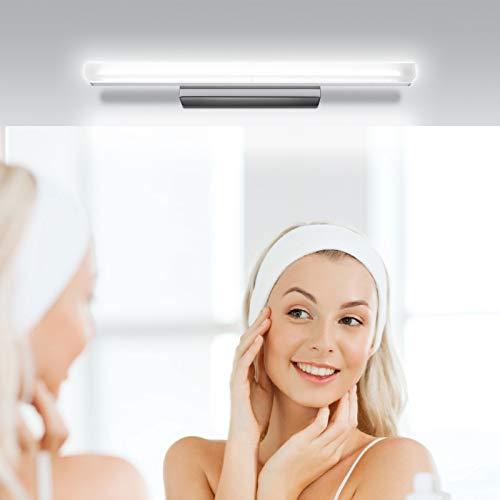 Kohree Lampada da specchio LED Lampada da bagno per specchio 12W 50cm 1000LM IP44 Bianco Neutra 6000K Lampada Armadio Applique da Parete 230V Acciaio Inossidabile [Classe di efficienza energetica A+]
