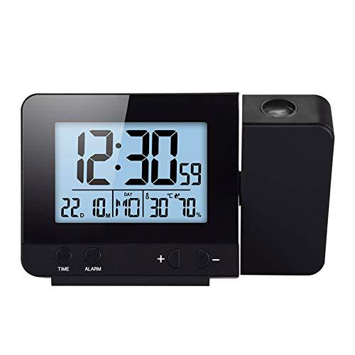 Konesky Orologio Digitale a proiezione, dimmer da Comodino Orologio Sveglia con Funzione di Orologio con Funzione di Snooze Orologio di umidità USB Alimentato a Batteria (Dimmer B)