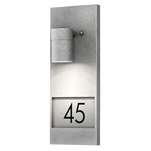 Konstsmide 7655-320 Modena - Targhetta Numero civico con Lampada, 16 x 11 x 41 cm (Larghezza x profondità x Altezza), 1 Lampadina da 35 W, IP44, Superficie zincata/galvanizzata