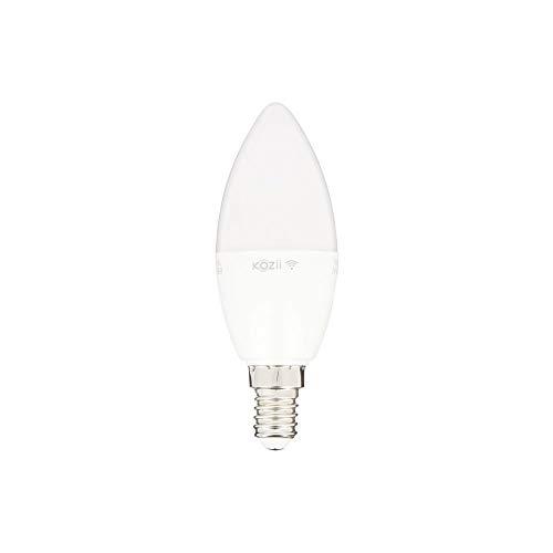 KOZII – Lampadina LED a fiamma E14 collegata Kozii, Alexa, Google Home, sistema WiFi, dimmer di intensità, 6 W (60 W Eq), 180 °, per ufficio, camera, stanza da vivere, bianco caldo, freddo, neutro