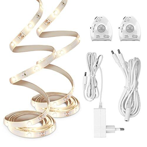 kwmobile 2x Striscia led con sensore movimento - Luci notturne lampada led dimmerabile da letto - Illuminazione notturna interni cameretta 120cm - bianco