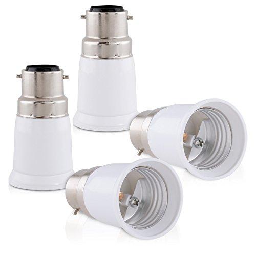 kwmobile adattatore lampadina B22 E27-4x attacchi porta lampada da B22 a E27 convertitore per lampadine alogene LED a risparmio energetico riduzione