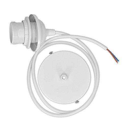 kwmobile Cavo elettrico attacco E27 - Filo 90cm e parti in metallo per lampade a sospensione - Lampadina illuminazione da interno cablaggio bianco