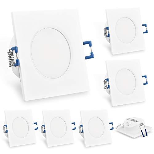 KYOTECH Faretti LED Incasso,set da 6,bianco caldo 3000K 6W 230V 500Lumen,luci ultrasottili da soffitto,IP44 può essere utilizzato in ambienti umidi (Bianca, Quadrati)