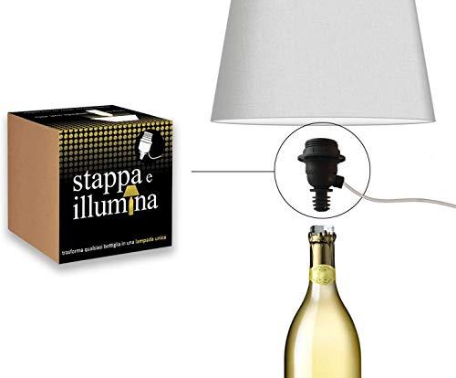 La Luce Stappa e Illumina - Trasforma Bottiglie in lampade in 30 Secondi - per Bottiglie Magnum - portalampada per Bottiglia - Kit Lampada Bottiglia - Magnum Champagne