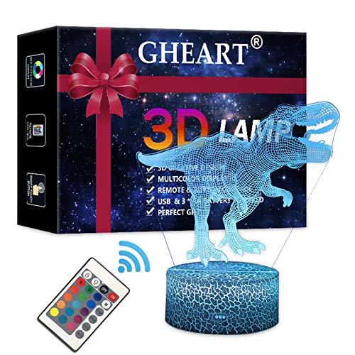 Lampada 3D Dinosauro LED Night Light Illusion Lampada Ragazzi Bambini Decorazione Luce Mood Light Lampada da comodino Telecomando Cambia Touch Switch Lampade da scrivania Regalo di compleanno
