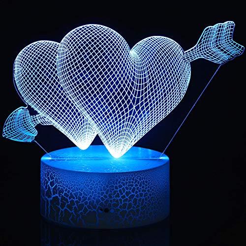 Lampada 3D Love Cupid, Luce Romantica dell'Illusione dell'Amore 16 Colori Luce Notturna LED del Cuore per Sonno per Valentines Moglie, Tocco Remoto