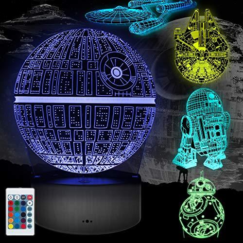 Lampada 3D Regalo Perfetto, 16 Colori Dimmerabile 3D Lamp Illusion con 5 Modelli Telecomando, Luce Notturna 3D per Bambini e Fan (5 Pacchi)