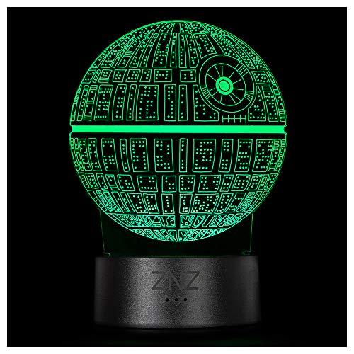 Lampada 3D Star Wars, Luce Notturna ZNZ LED Illusion, 16 Colori che Cambiano 3 Modelli con Decorativa Touch Remoto - Regali di Natale per Bambini, Uomini, Donne e Fan di Star Wars (Death Star)