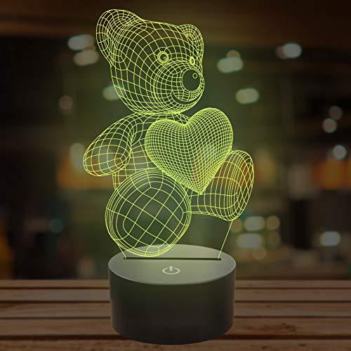 Lampada a forma di orsacchiotto in 3D, con 7 colori che cambiano, illusione 3D
