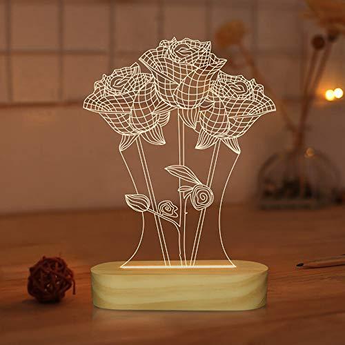 Lampada a forma di rosa, luce notturna a LED bianca calda, luce notturna 3D, regalo romantico per fidanzata, decorazione per la casa