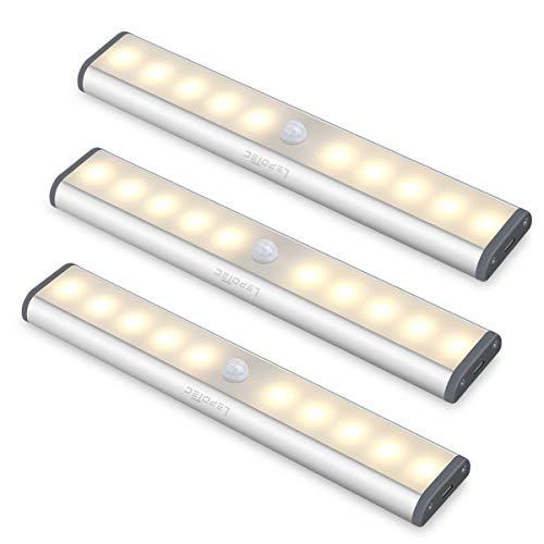 Lampada a LED con sensore di movimento, per illuminazione armadio, credenza cucina, Luce calda., 3 pezzi