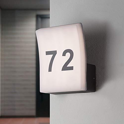 Lampada a LED per numero civico in alluminio, antracite, IP65, 12 W 996 lm, con numeri | Lampada da esterno a LED per ingresso della casa | lampada da parete