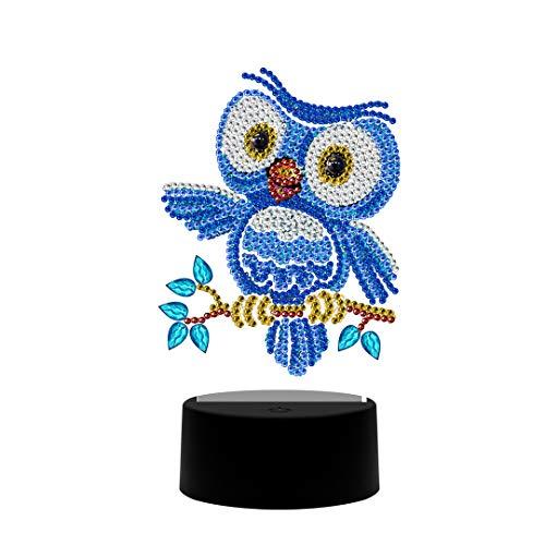 Lampada a LED per pittura a mosaico fai da te, a forma di speciale trapano a punto croce di cristallo per decorazione domestica o regali (gufo)