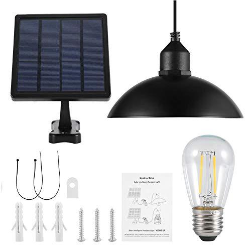 Lampada a sospensione ad energia solare con paralume in metallo appeso vintage con kit di accessori, lampada a sospensione per esterno appesa a lampadina E27 con pannello solare intercambiabile per gi