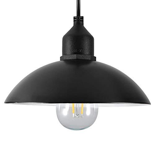 Lampada a Sospensione ad Energia Solare LED Lampada a Soffitto Paralumi in Metallo Lampada a Sospensione per Esterno Lampadina E27 per Giardino di Casa