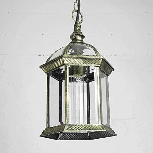lampada a sospensione da esterno in oro antico E27 resistente alle intemperie Rustikal lampada a sospensione in vetro terrazza balcone cortile del balcone
