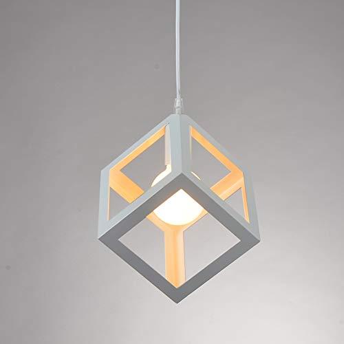 Lampada a Sospensione E27, Lampadario Creativo Metallo Retrò Cubo 17cm 1Pcs per Sala da Pranzo, Soggiorno (Lampadina Non è Incluso)