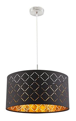 Lampada a sospensione in tessuto a 1 luce, lampada a sospensione per camera da letto, colore nero e oro (lampada a sospensione, lampada da soggiorno, 40 cm, altezza 140 cm)