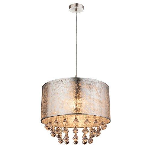 Lampada a sospensione, paralume in tessuto con cristalli, per camera da letto o soggiorno, argento metallizzato (40 cm, altezza 140 cm)