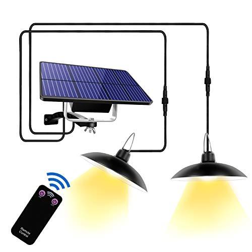 Lampada a Sospensione Solare Esterno con Telecomando 32 LED Lampada solare da Campeggio 180° Lampada da Parete Solare IP65 Impermeabile Luce solare per Esterni, Giardino, Casa Decorazione (B)