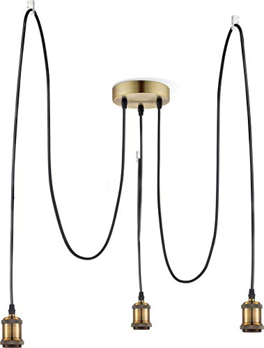 Lampada a sospensione vintage in ottone, design industriale, lampada da sala da pranzo, cavo in tessuto (lampada da cucina, lampada a sospensione, retrò)